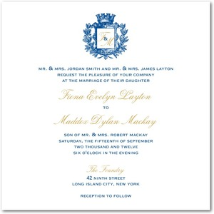 photo of Signature white wedding invitations, Heraldic Crest