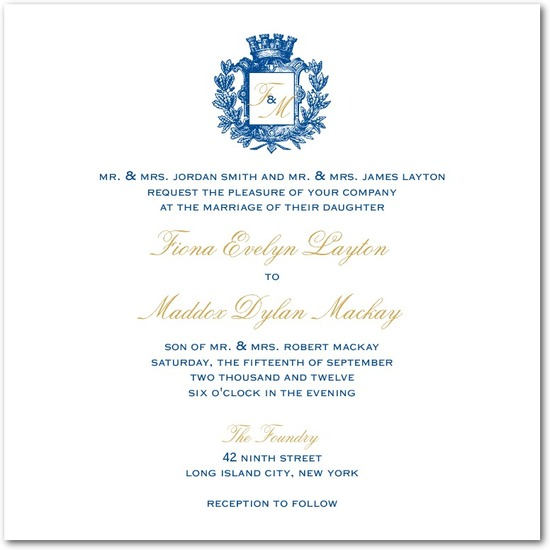 Signature white wedding invitations, Heraldic Crest