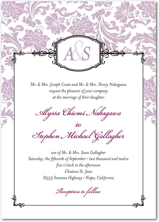 photo of Signature white wedding invitations, Monogrammed Grace