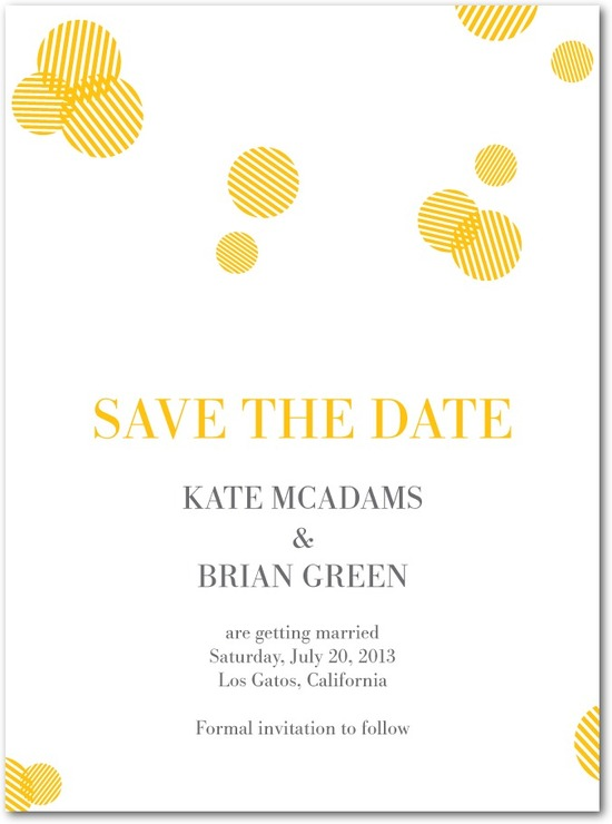 photo of Signature white textured save the date cards, Polka Pattern