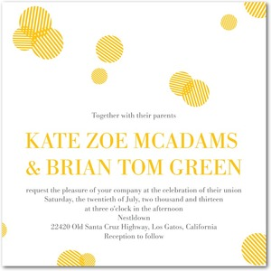 photo of Signature white textured wedding invitations, Polka Pattern