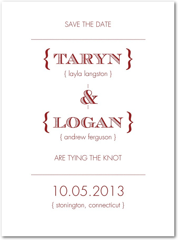 photo of Signature white textured save the date cards, Tailored Typography