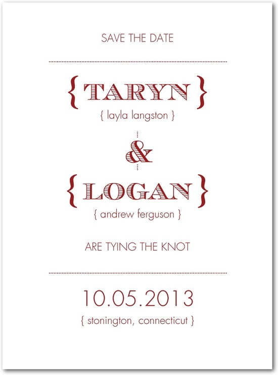 Signature white textured save the date cards, Tailored Typography