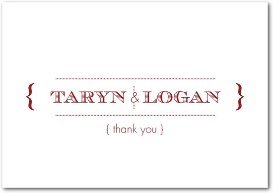 Signature white textured thank you cards, Tailored Typography