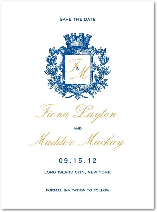 Signature white save the date cards, Heraldic Crest