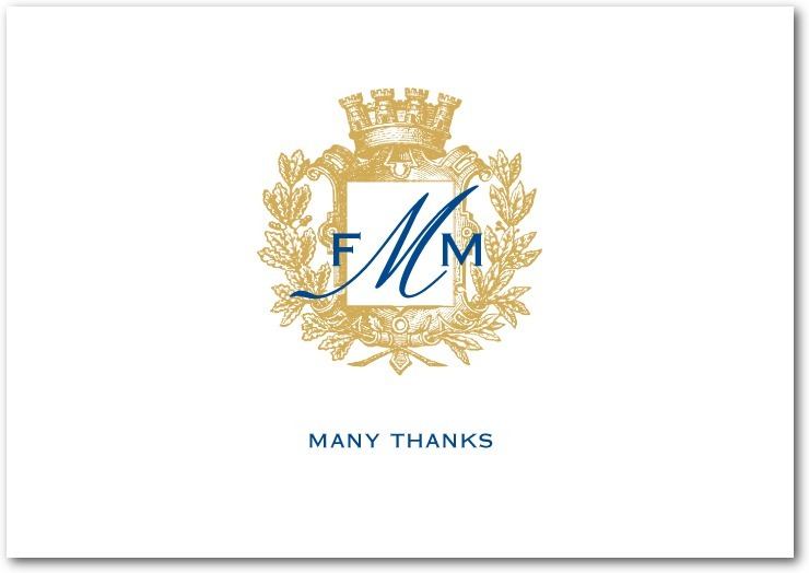 Signature white thank you cards, Heraldic Crest