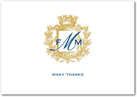 photo of Signature white thank you cards, Heraldic Crest