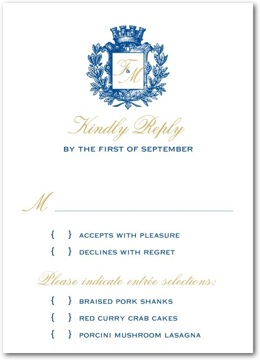 Signature white wedding response cards, Heraldic Crest