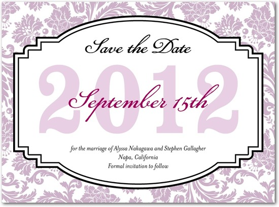 Signature white save the date cards, Monogrammed Grace