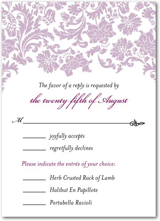 photo of Signature white wedding response cards, Monogrammed Grace