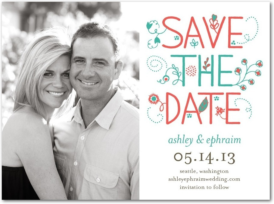 Signature white save the date cards, Happy Forever