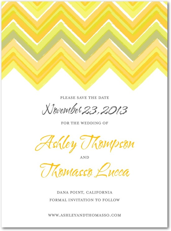 Signature white textured save the date cards, Chevron Charm