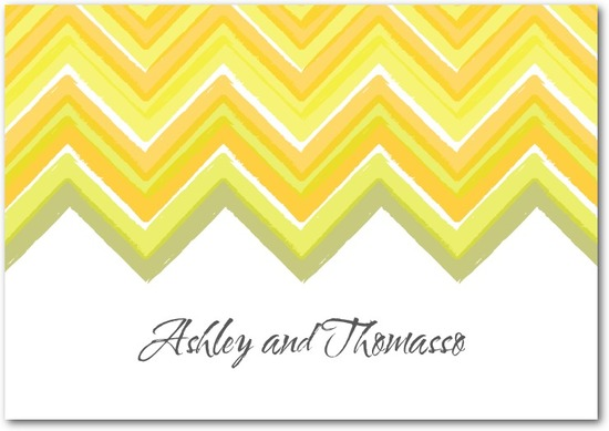 photo of Signature white textured thank you cards, Chevron Charm