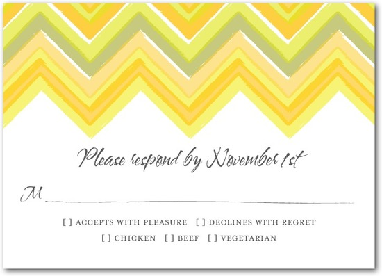 photo of Signature white textured response cards, Chevron Charm