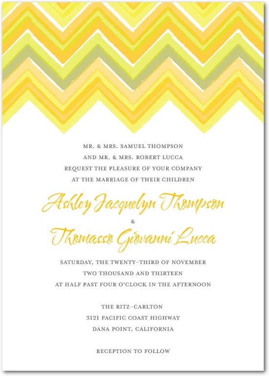 photo of Signature white textured wedding invitations, Chevron Charm