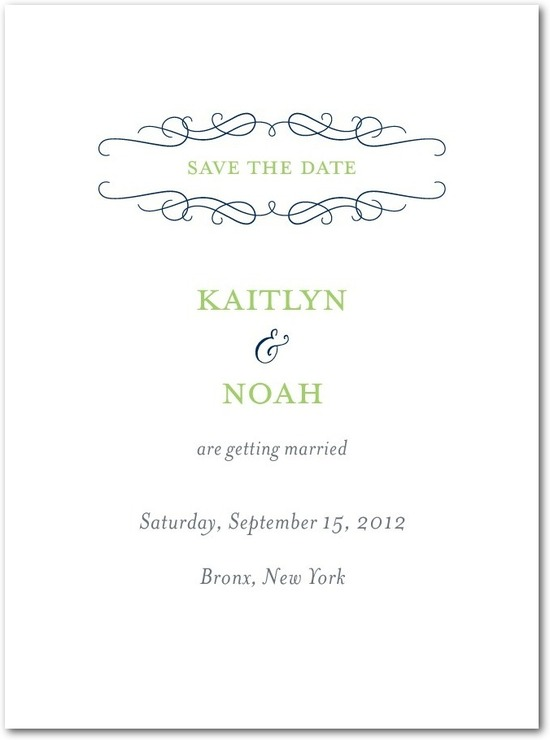 photo of Signature premium save the date cards, Majestic Wavy Scroll