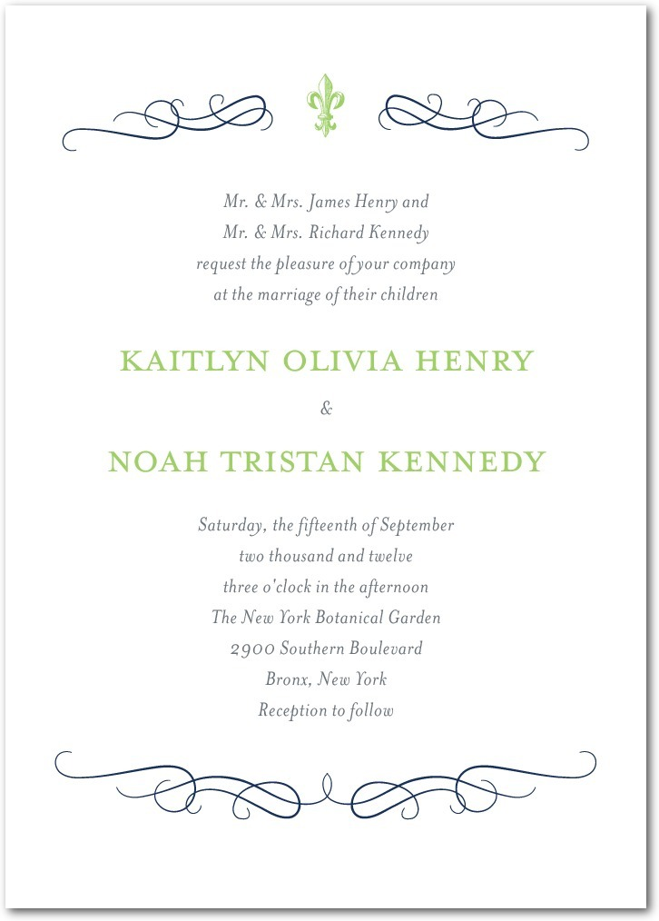 photo of Signature letterpress wedding invitations, Majestic Wavy Scroll