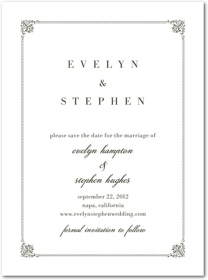 Signature premium save the date cards, Regal Frame