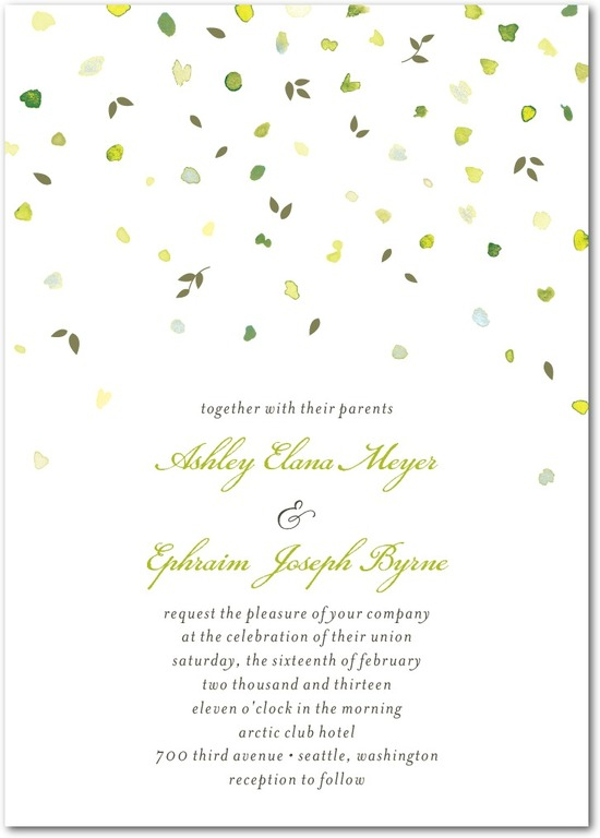 Signature letterpress wedding invitations, Autumn Shower