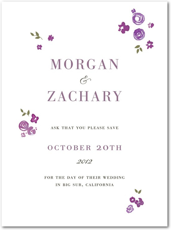 Signature premium save the date cards, Showering Bouquets