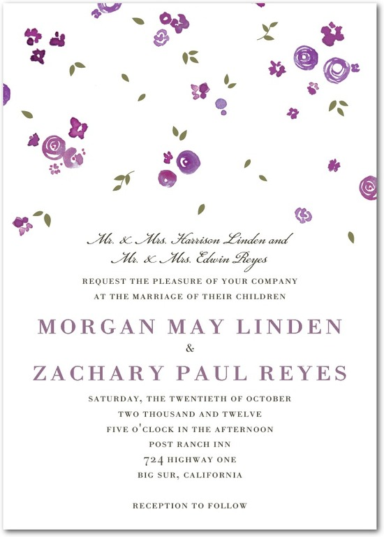 Signature letterpress wedding invitations, Showering Bouquets