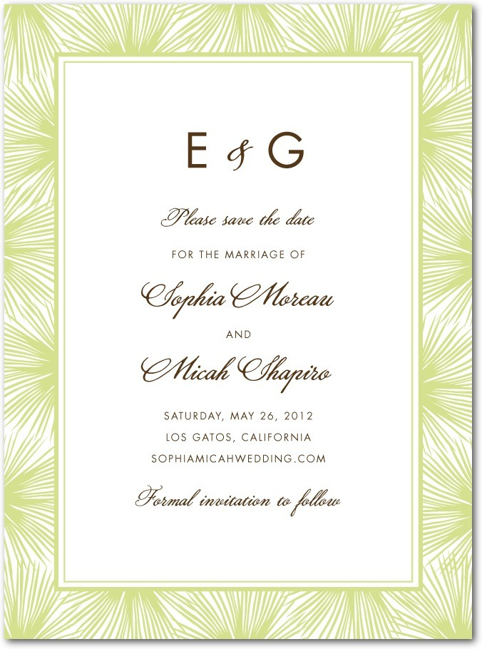 photo of Signature premium save the date cards, Dreamy Palm Monogram