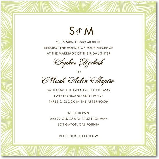 Signature letterpress wedding invitations, Dreamy Palm Monogram