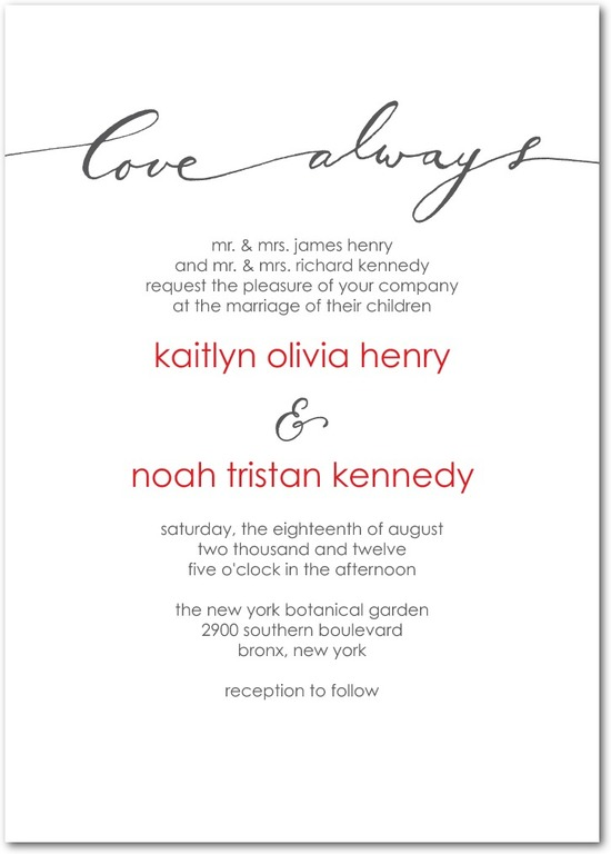 photo of Signature letterpress wedding invitations, Love Always