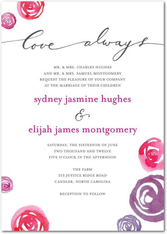 Signature letterpress wedding invitations, Tangle of Love