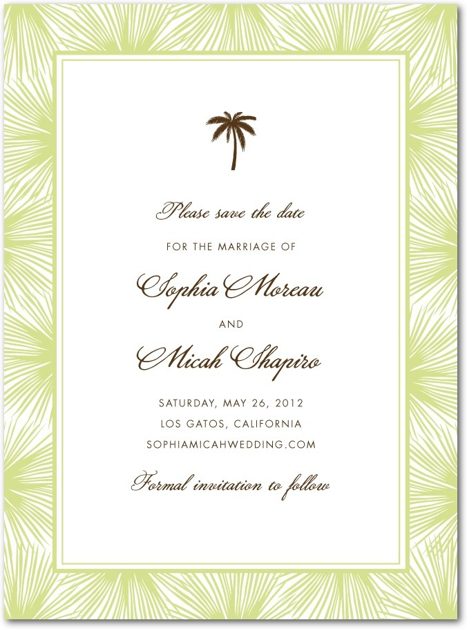 photo of Signature premium save the date cards, Dreamy Palm