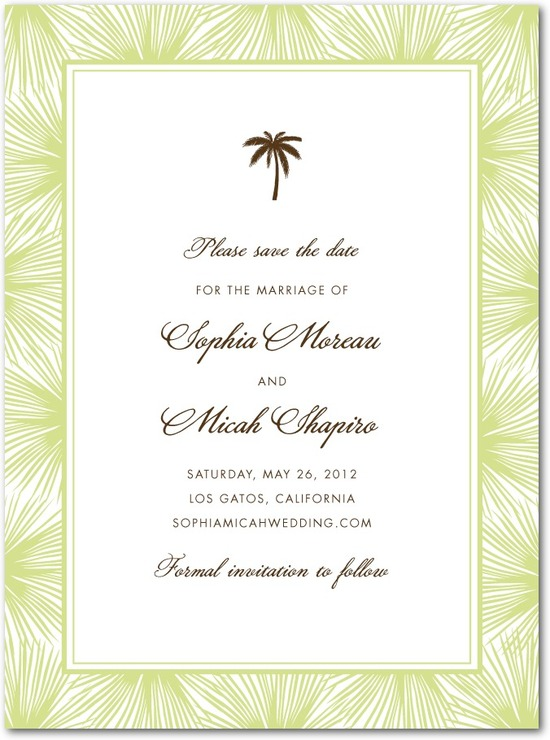 Signature premium save the date cards, Dreamy Palm