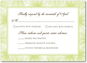 photo of Signature letterpress wedding response cards, Dreamy Palm