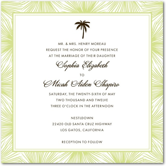 Signature letterpress wedding invitations, Dreamy Palm