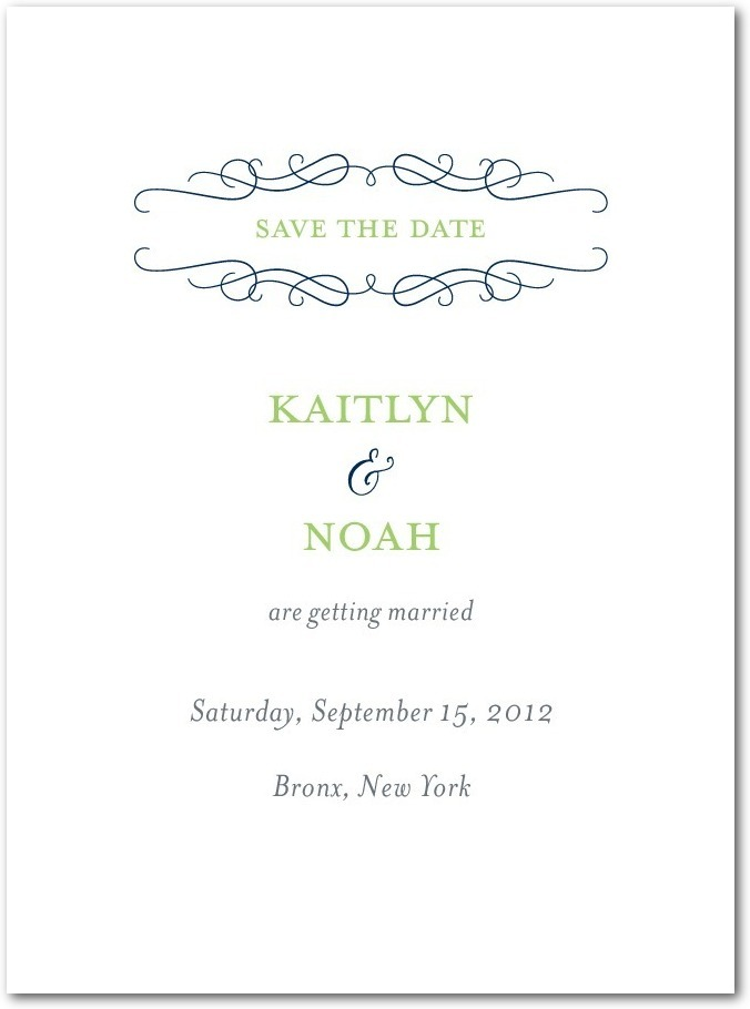 photo of Signature premium save the date cards, Wavy Scroll
