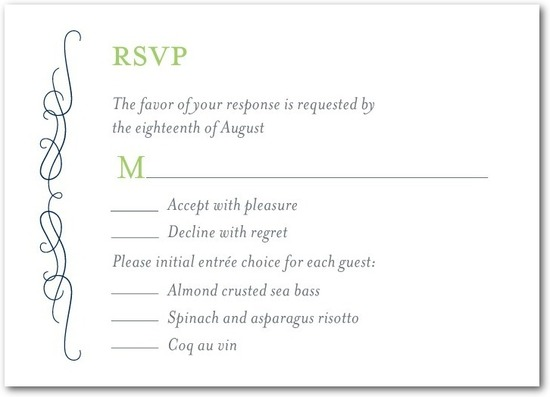 Signature letterpress wedding response cards, Wavy Scroll