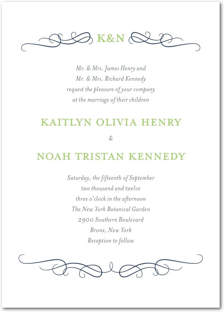 photo of Signature letterpress wedding invitations, Wavy Scroll