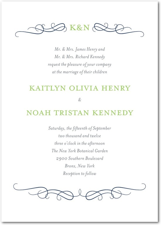 Signature letterpress wedding invitations, Wavy Scroll