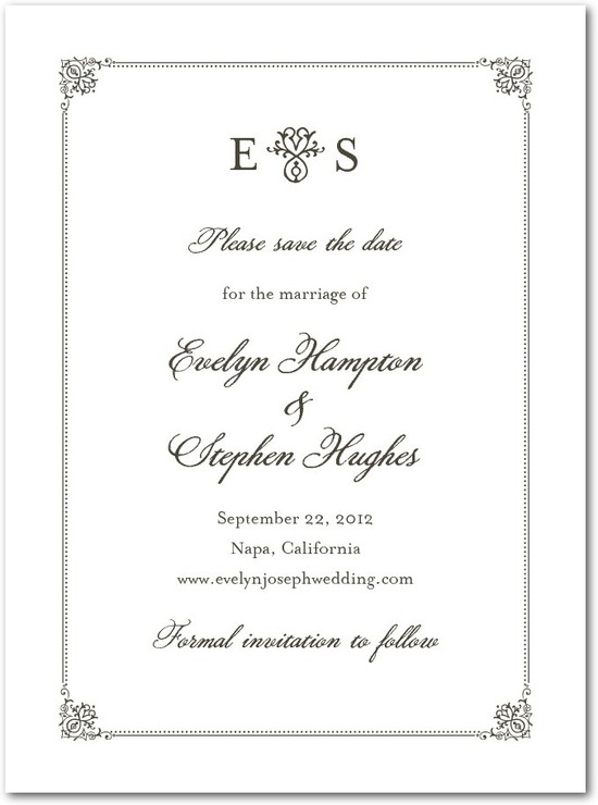 Signature premium save the date cards, Elegant Regal Frame