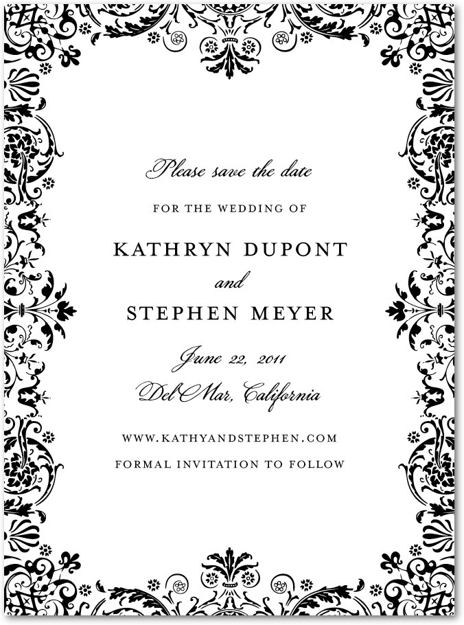photo of Signature premium save the date cards, Regal Pattern
