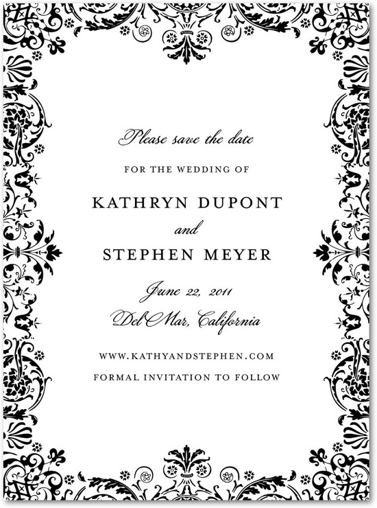 Signature premium save the date cards, Regal Pattern