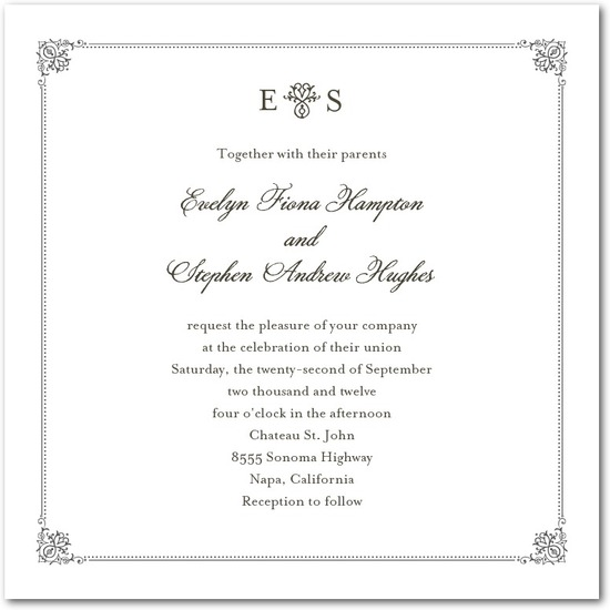 Signature letterpress wedding invitations, Elegant Regal Frame