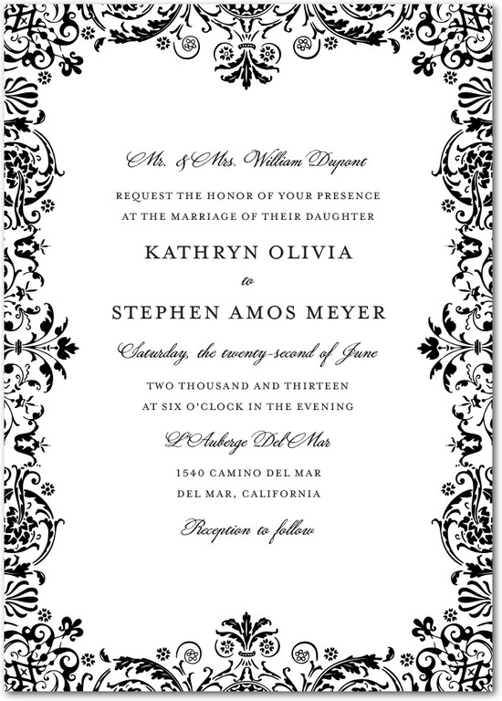 Signature letterpress wedding invitations, Regal Pattern