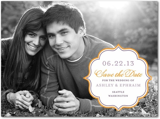 Signature premium save the date cards, Autumn Textile