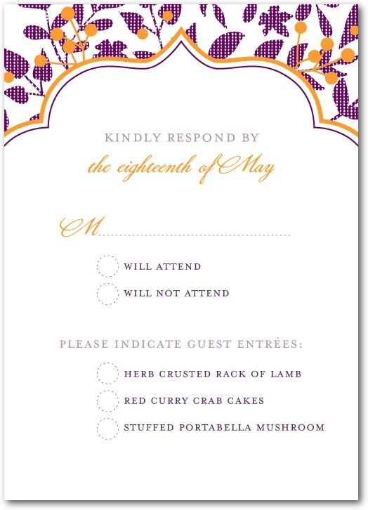 photo of Signature letterpress wedding response cards, Autumn Textile