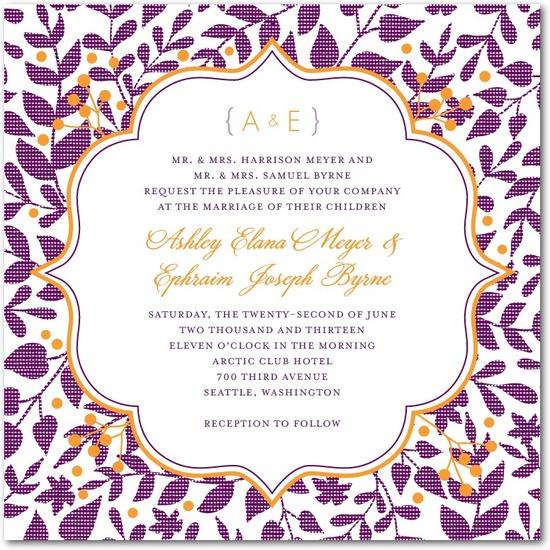 photo of Signature letterpress wedding invitations, Autumn Textile