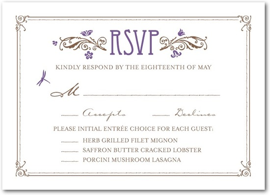 photo of Signature letterpress wedding response cards, Artistic Deco