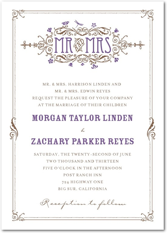 Signature letterpress wedding invitations, Artistic Deco
