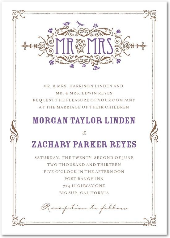 photo of Signature letterpress wedding invitations, Artistic Deco