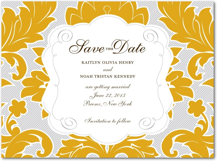 Signature premium save the date cards, Striped Damask