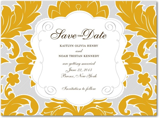 photo of Signature premium save the date cards, Striped Damask